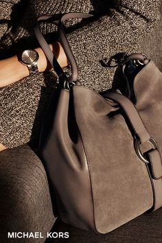 cool Quincy Large Suede and Leather Shoulder Bag | Michael Kors