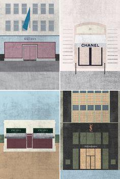 fashion house illustrations by gabriela alford