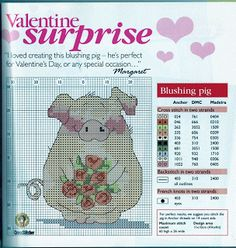 Pig with flowers free cross stitch pattern