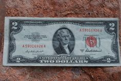1953C series 2 dollar bill, blue seal, circulated condition, old money 00246 by…