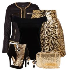 """Gold and black"" by rosipolooyas ❤ liked on Polyvore"