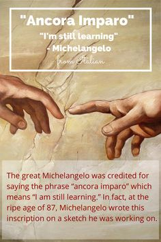 """Ancora Imparo"" - I'm still learning (Michelangelo at 87). The great Michelangelo was credited for saying the phrase ""ancora imparo"" which means ""still I am learning."" In fact, at the ripe age of 87, Michelangelo wrote this inscription on a sketch he was working on at the time. Never Stop Learning."