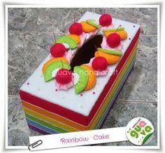 Kotak Tisu Flanel - Rainbow Cake 01 Felt Cake, Felt Food, Tissue Boxes, Felting, Flannel, Diy And Crafts, Rainbow, Desserts, Decor