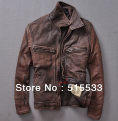 Limited promotions! European and American Super Star Design 100% Distressed leather motorcycle genuine leather jacket for men-in Leather S...