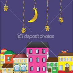 Силуэт города и ночное небо с звезды и Луна — Stock Illustration #20803683