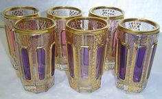 Gorgeous Set of 6 Moser Cabochon Glass Tumblers Gold Enamel Painted Bohemian | eBay