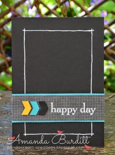 "handmade card ... black with bits of color ... like how she made a simple border line with a white gelt pin ... belly band with punched chevrons and turqaoise mat ... clean and simple layout ... Stampin""Up!"