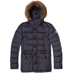 Moncler Cluny Parka ($1,525) ❤ liked on Polyvore featuring men's fashion, men's clothing, men's outerwear and men's coats