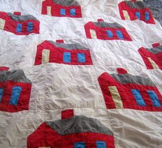 Vintage School House Single Quilt by 2MoonswithCharm on Etsy