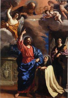 Apparition of Christ to Saint Teresa of Jesus Guercino Catholic Religion, Catholic Art, Catholic Saints, Religious Art, Sainte Therese, St Therese Of Lisieux, Jesus Christ Images, Jesus Art, Saint Teresa Of Avila