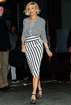 Sienna Miller wearing: Altuzarra Candide button down blouse, Palazzo stripe skirt; Jennifer Fisher + Stop It Right Now choker; Sonia Rykiel sandals
