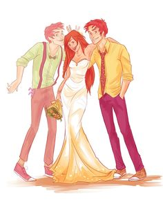 HP DeviantArt - Ginny in her wedding dress with George on the right and the spirit of Fred on the left. Heartbreaking.