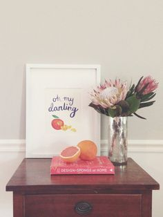 Oh My Darling Clementine Poster // I Love You // Watercolor Calligraphy // by Sable and Gray Paper Co. in Asheville, NC