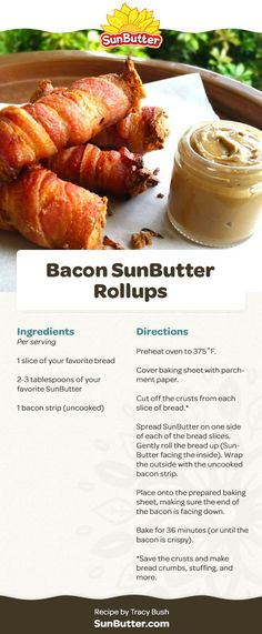 An Alternative To Peanut Butter Roll Ups, Slice Of Bread, Crusts, Parchment Paper, Baking Sheet, Lunch Recipes, Paper Cutting, Peanut Butter, Bacon