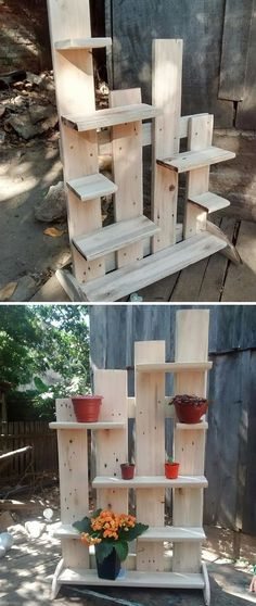 27 Inspiring and Affordable Pallet Kitchen Projects for You – Pallet Shelf Wooden Pallet Shelves, Wooden Pallet Projects, Pallet Crafts, Diy Pallet Furniture, Wooden Pallets, Wooden Diy, Pallet Ideas, Diy Projects, Wood Pallet Planters