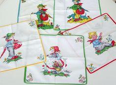 Vintage Kinder-Accessoires - 5 Kindertaschentücher, Kindermotive, 60er, 70er - ein Designerstück von Speicherfunde bei DaWanda