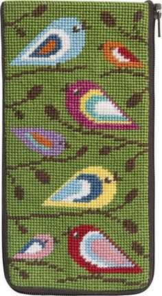 Alice Peterson Eyeglass Case - Birds Of Color - Needlepoint Kit. Stitch & Zip Preassembled Needlepoint Eyeglass Cases are available in several designs. Needlepoint Designs, Needlepoint Pillows, Needlepoint Stitches, Needlepoint Kits, Needlework, Cross Stitch Heart, Cross Stitch Borders, Cross Stitch Patterns, Bargello
