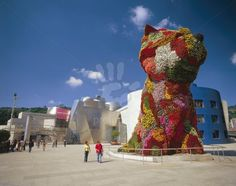 This huge dog made of flowers is outside the Guggenheim museum in Bilbao, Spain.  Frank Gehry was the building's architect.  I'm interested in his work because I've visited a former furniture factory in my area which he designed.  This museum houses contemporary art and was very interesting.