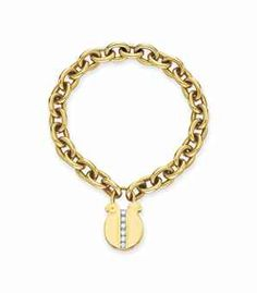 Huguette Clark: DIAMOND AND GOLD BRACELET, BY CARTIER   Designed as a gold link bracelet, joined by a gold padlock charm clasp decorated with circular-cut diamonds, mounted in gold $20,000.00