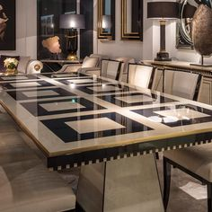 Exclusive Bird's Eye Maple Veneered Table Set at Juliettes Interiors. Unique Dining Tables, Luxury Dining Tables, Dinning Table, Fine Furniture, Luxury Furniture, Furniture Design, Furniture Ideas, Minimal House Design, Small House Design