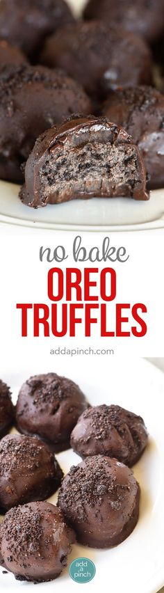 No Bake Oreo Truffles Recipe - These No Bake Oreo Truffles use just four ingredients and come together in a snap! Perfect to make throughout the year, but especially during the holidays! // addapinch.com