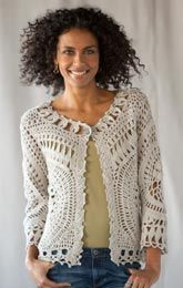 LATTICE CARDIGAN: A layer as gentle as a spring breeze, pretty as the first blossoms. Hand crocheted blend of a linen/cotton. Crochet Coat, Crochet Jacket, Crochet Cardigan, Love Crochet, Crochet Clothes, Hand Crochet, Crochet Doilies, Pinterest Crochet, Crochet Fashion