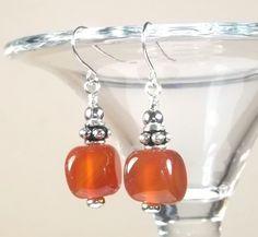 Carnelian Gemstone Earrings by BeBoDesigns on Etsy