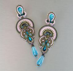 Soutache Clip-On Earrings / khaki rosa turquoise от BeadsRainbow