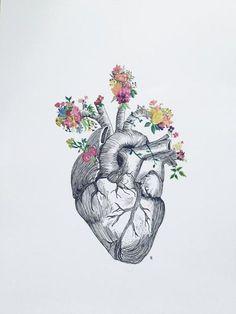 anatomical heart tattoos with flowers ideas ~ anatomical heart tattoos ideas . anatomical heart tattoos with flowers ideas . Anatomical Heart Drawing, Anatomical Heart Tattoos, Heart Flower Tattoo, Human Heart Tattoo, Human Heart Drawing, Hart Tattoo, Home Bild, Art Du Croquis, Heart Sketch
