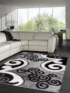 T1014 Gray Black White 7'10 x 10'2 Floral Oriental Area Rug Carpet
