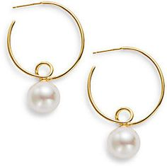 12MM White Round Pearl Twist Hoop Earrings/1.75