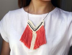 Crochet Necklace - with beads and fringe, $20.99 CAD by LeensLittleThings on Etsy.  Bohemian necklace, Boho Style