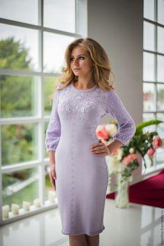 """Купить Платье """"Луара"""" - бледно-сиреневый, вязаное платье, ажурное платье, платье на заказ"""