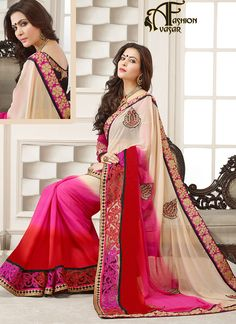 Real Beauty Will Come Out As A Results Of The Dressing Trend With This Cream, Pink & Red Faux Georgette Saree. The Amazing Attire Creates A Dramatic Canvas With Fantastic Crystal|Patch Work|Resham|Stones|Unique Border Work Work.