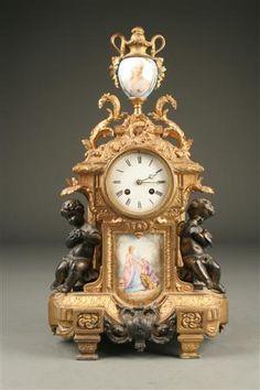 19th Century French metal & porcelain mantle clock , circa 1870. #antique #clock