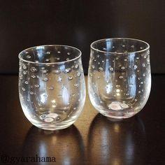 【吹きガラス】。【結婚祝・内祝】ガラス作家「若林克昌」泡グラス(ペア)