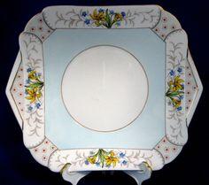 25% OFF Today! Shelley Sandwich Cake Plate Art Deco Vogue Mode Shape Floral 1940s Serving Plate