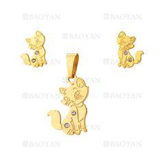 juego colgante y aretes de gatos en acero dorado inoxidable -SSSTG1074289