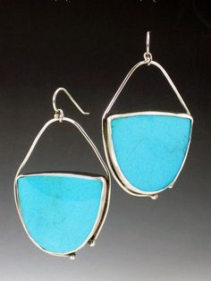 Large Turquoise Earrings sleeping beauty by MicheleGradyDesigns