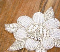 Crystal Flower Applique, Beaded Rhinestone Applique (1 Piece) Pearl Flower Applique, Wedding DIY Craft Supply, Dance, Skating, Costume