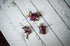 Unique hadnmade hair set. Set is made from textile flowers, leaves, grass. Suitable for wedding or other special occasions. Set consists of hair comb and two arranged hair pins. All the items in my shop are customizable according your needs. You can find more of my fashion