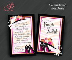 Hat 'n' Heels Invitations for by PrettyWithInkInvites on Etsy