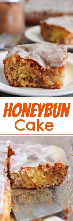 Honeybun Cake - A moist yellow cake swirled with cinnamon and sugar and topped with a vanilla glaze.