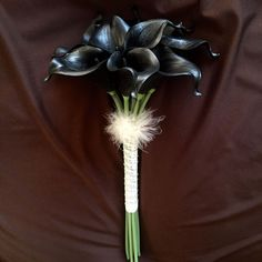 Lily Garden Mini 15' Artificial Calla Lily 10 Stem Flower Bouquets (Pure Black) -- Click image for more details.