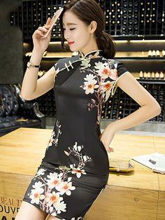 Modern Black Qipao / Cheongsam Dress in Magnolia Floral Print