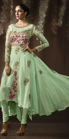 Green Embroidered Work Anarkali Suit With Silk Material
