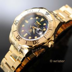 Calling all watch lovers...check out the Invicta Pro Diver.... Get yours here: http://www.wrister.com/products/invicta-pro-diver-47mm-gold-ip-black-mop-dial-automatic-watch?utm_campaign=social_autopilot&utm_source=pin&utm_medium=pin