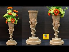 Beautiful flower vase decoration idea with jute rope Twine Crafts, Cd Crafts, Diy Crafts Hacks, Crafts To Do, Jute Flowers, Diy Flowers, Flower Vases, Sisal, Bobbin Lacemaking