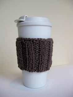 Knit Cup Sleeve Organic Cotton Brown by SimpleKnitShop on Etsy, $5.00