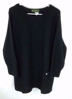 0501cc3dfd6 Hunters Run Waffle Knit Sweater Black Acrylic Women 039 s Sz L Oversized  Boxy Pocket